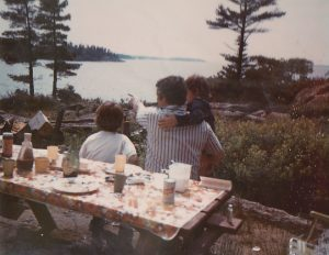 Allison with my Dad and I on a typical day camping