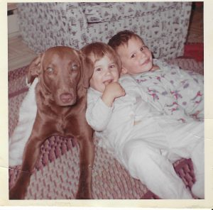 Cleo, our Chesapeake Bay Retriever with Allison and I